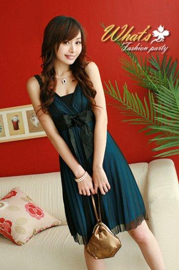 CM-006 / JK3091 Elegent Chiffon Cocktail Dress- Blue