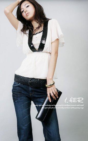 Hot Sale - CT-10385 White 2 piece Chiffon V Neck Top - White