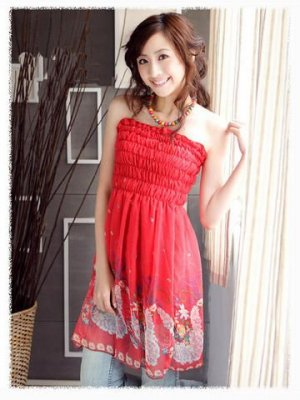 Beautiful Tube Dress with Print - Red