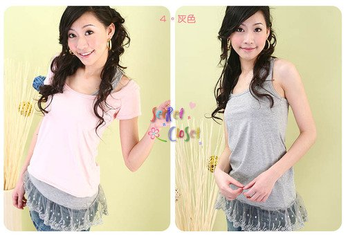 CT10553 Comfortable Cotton T with Lacy Bottom-Grey