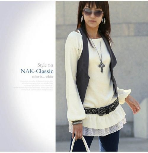 Hot Sale - JK5075 Long Sleeve Top with Chiffon Edge- White