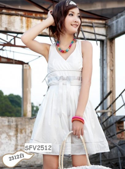 Hot Sale - SIN 2512 Beautiful V neck Halter Dress - White