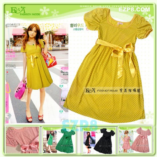 Hot Sales ECA_ 7T-006 Yellow doty Dress with Ribbon