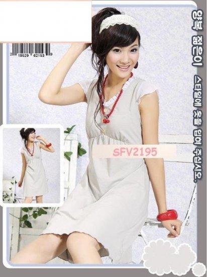 SIN 2195 Cotton Grey Dress with White Ribbon