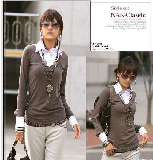 E2218 Long Sleeve Fake 2 piece blouse - Brown