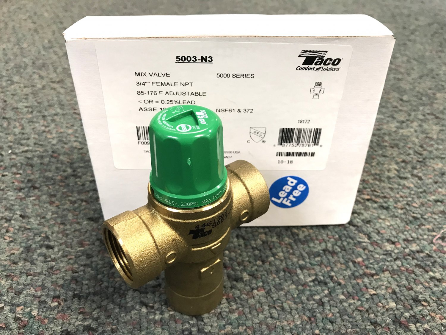 Taco 3 4 Npt Female Outlet Lead Free Mixing Valve 5003 N3