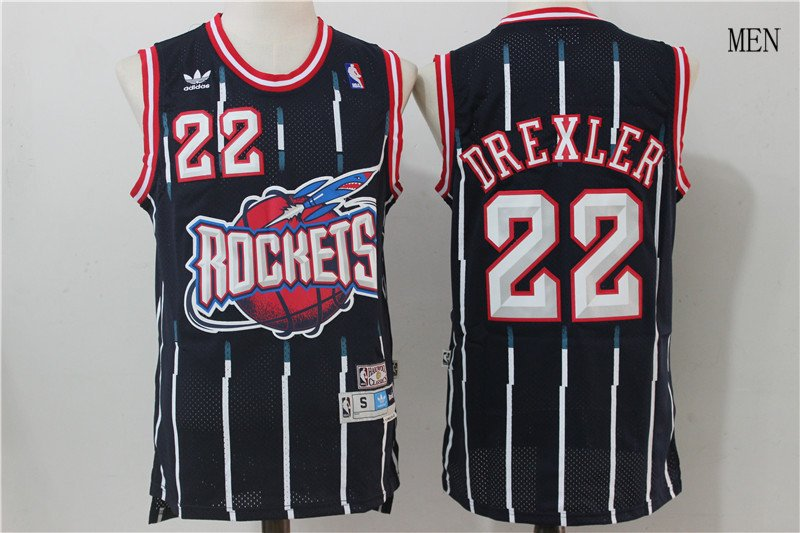 competitive price b9f76 09c28 Houston Rockets #22 Clyde Drexler Blue Stitched Jersey