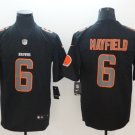 Men's Browns #6 Baker Mayfield Limited Stitched Jersey Black Impact
