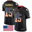 Men's Kansas City Chiefs #15 Patrick Mahomes II Black Stitched Jersey USA Flag