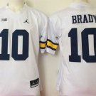 Men Michigan Wolverines 10 Tom Brady White College Football Stitched Jersey