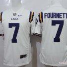 Men LSU Tigers 7 Leonard Fournette White College Football Stitched Jersey