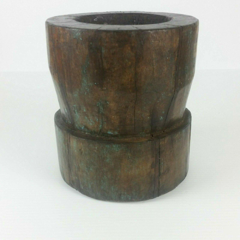 Antique Tibetan Primitive Hand Carved Wood Bowl Vase Planter Rustic Folk Art 9x8