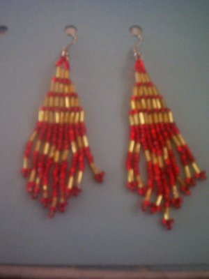 Gold and Red Dangles