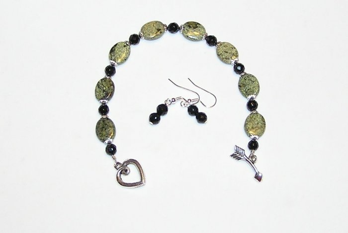 Russian Jade and Black Beaded Bracelet and Earrings