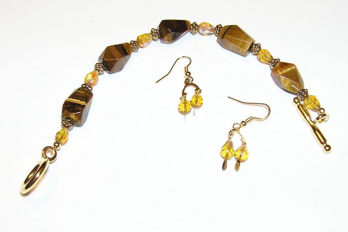 Tiger Eye And Crystal Bracelet and Earring Set