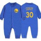 Stephen Curry Baby Bodysuit Golden State Warriors #30 Toddler Onesie Long Sleeve Shirt Blue