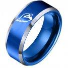 Arizona Cardinals 8MM Tungsten Carbide Wedding Band Blue Father's Day Gift
