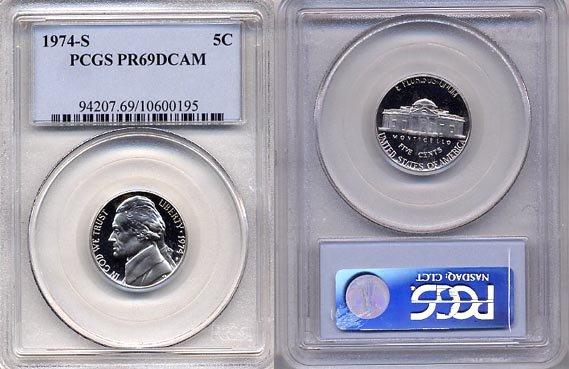 1974-S Jefferson Nickel Certified PCGS PR69DCAM * FREE SHIPPING *