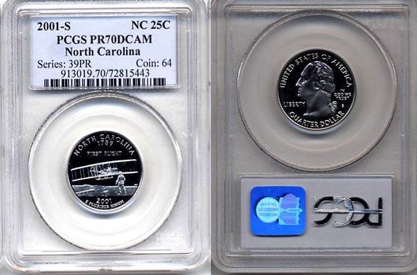 2001-S North Carolina State Quarter ( PCGS PR70DCAM ) RARE * FREE SHIPPING *