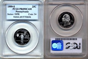 1999-S Clad Pennsylvania State Quarter PCGS PR69DCAM * FREE SHIPPING *
