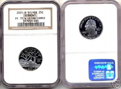 """Silver 2001-S Vermont 25ct NGC PF 70 """"W"""" UCAM (WHITE) FREE SHIPPING"""