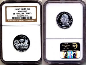 Silver 2003 S Arkansas State 25ct * NGC PF 70 UCAM * 70 FREE SHIPPING