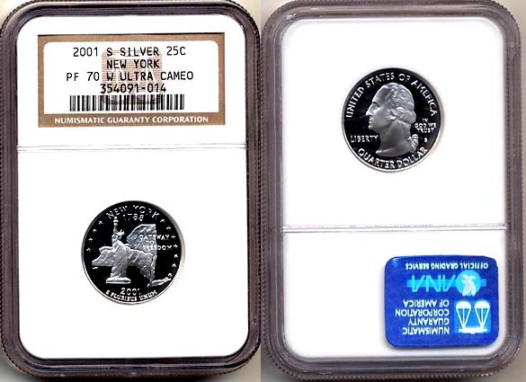 "Silver 2001-S New York 25ct NGC PF 70 ""W"" UCAM (WHITE) FREE SHIPPING"