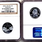 Silver 2003 S Missouri State 25ct * NGC PF 70 UCAM *  70  FREE SHIPPING