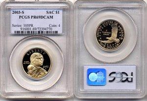 2003-S Sacagawea Golden Dollar PCGS PR69DCAM FREE SHIPPING