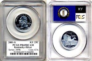 Silver PQ 2001-S Kentucky 25ct PCGS FLAG PR69 DEEP CAMEO * FREE SHIPPING