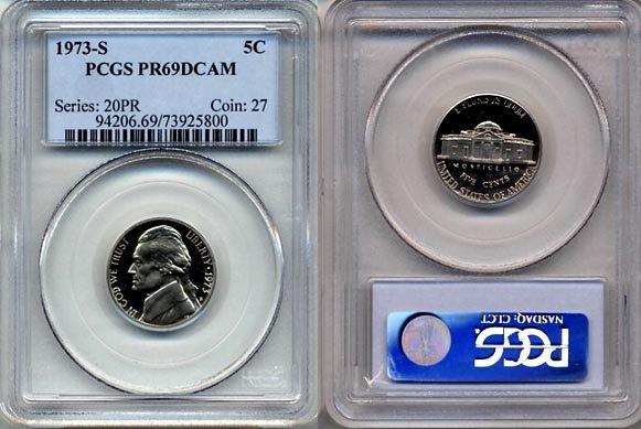 1973-S Jefferson Nickel Certified PCGS PR69DCAM * FREE SHIPPING *