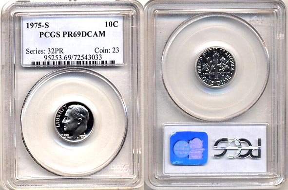 1975-S Proof Roosevelt Dime PCGS PR69DCAM * FREE SHIPPING *