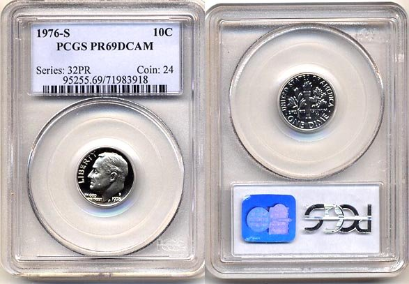 1976-S Proof Roosevelt Dime PCGS PR69DCAM * FREE SHIPPING *