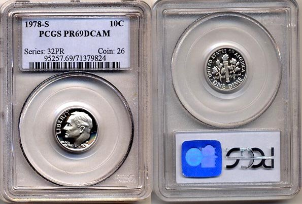 1978-S Proof Roosevelt Dime PCGS PR69DCAM * FREE SHIPPING *