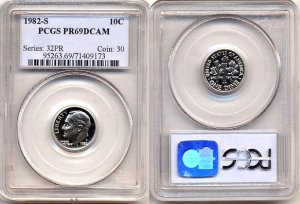1982-S Proof Roosevelt Dime PCGS PR69DCAM * FREE SHIPPING *