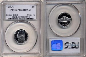 2002-S Jefferson Nickel Certified PCGS PR69DCAM * FREE SHIPPING *