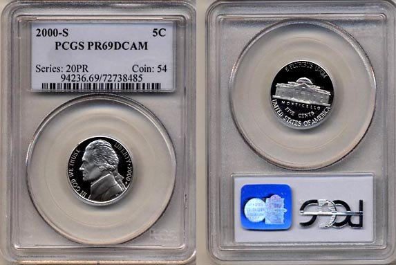 2000-S Jefferson Nickel Certified PCGS PR69DCAM * FREE SHIPPING *