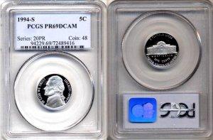 1994-S Jefferson Nickel Certified PCGS PR69DCAM * FREE SHIPPING *