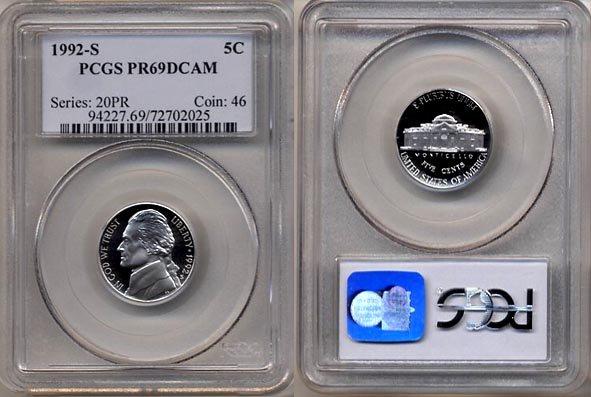 1992-S Jefferson Nickel Certified PCGS PR69DCAM * FREE SHIPPING *