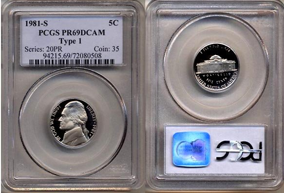 1981-S Type 1 Jefferson Nickel Certified PCGS PR69DCAM * FREE SHIPPING *