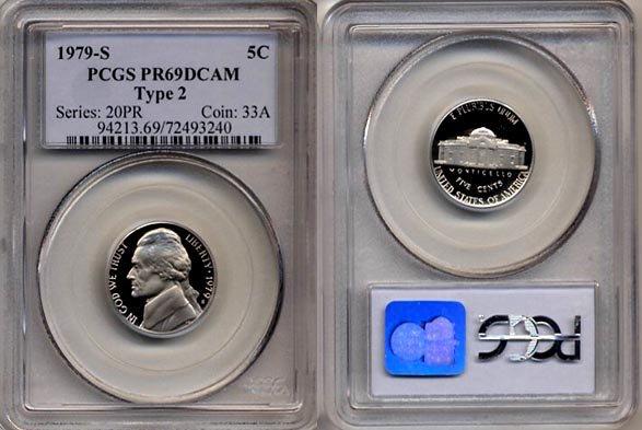 1979-S Type 2 Jefferson Nickel Certified PCGS PR69DCAM * FREE SHIPPING *
