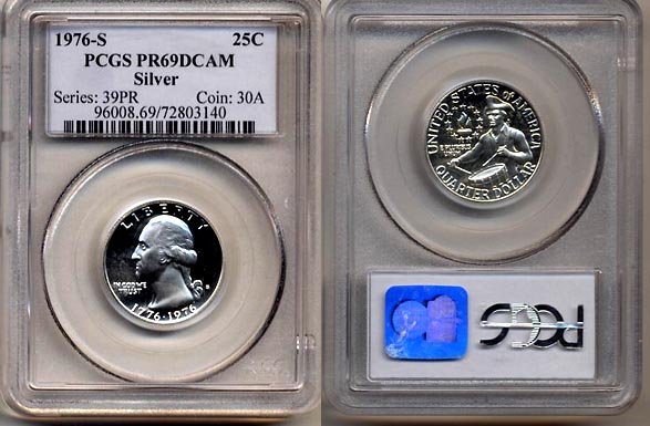 1976-S Silver Bicentennial Washington Proof Quarter * PCGS PR69DCAM  * FREE SHIPPING *