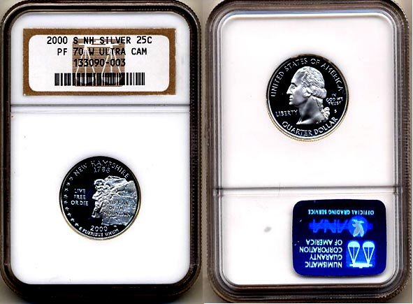 """Silver 2000-S New Hampshire 25ct NGC PF 70 """"W"""" UCAM (WHITE) FREE SHIPPING"""