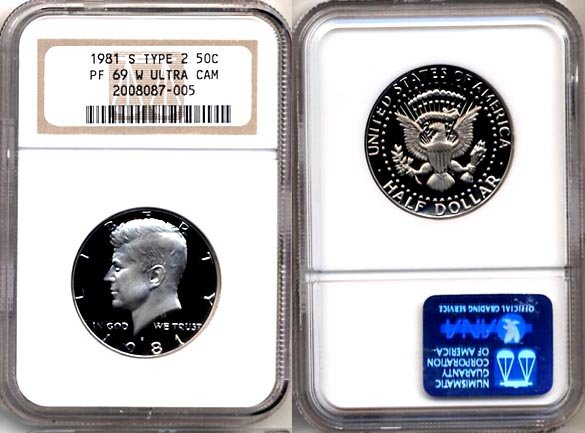 "1981-S TYPE 2 Kennedy Half NGC PF 69 ""W""  ULTRA CAMEO * Free Shipping *"