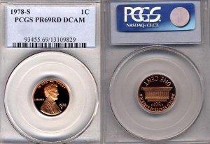 1978-S Lincoln Cent PCGS PR69RD DCAM
