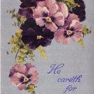 HE CARETH FOR YOU~1st PETER V:7~RELIGIOUS POSTCARD c1909 PSTMK