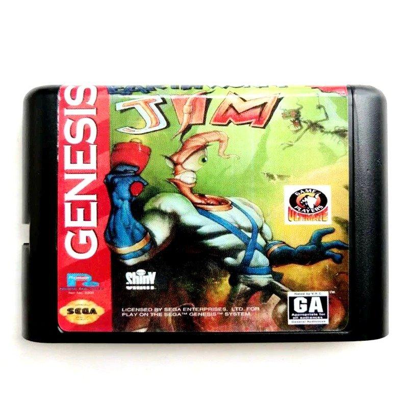 Earth Worm Jim  16-Bit Fits Sega Genesis Mega Drive Game Repro