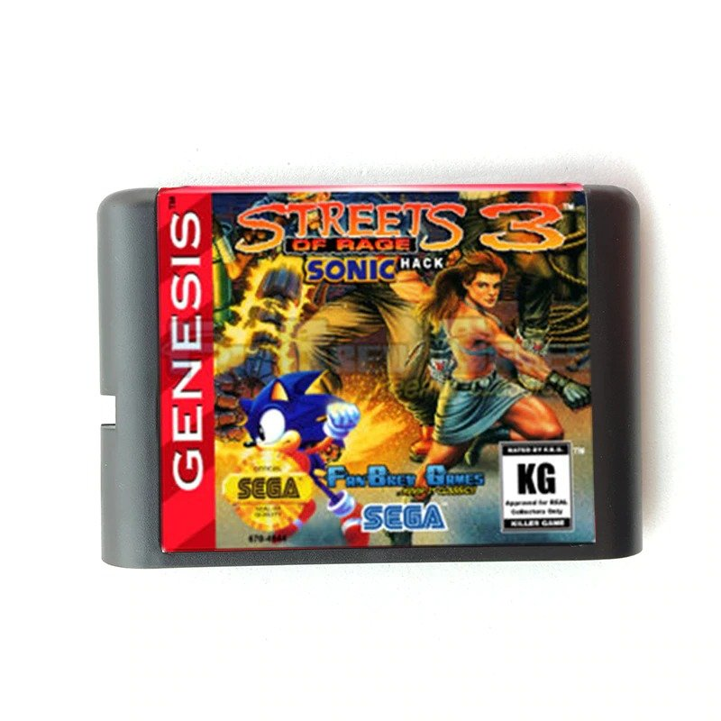 Streets Of Rage 3 Sonic Version 16-Bit Fits Sega Genesis Mega Drive Game Repro