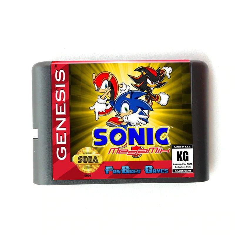 Sonic MegaMix 16-Bit Fits Sega Genesis Mega Drive Game Repro