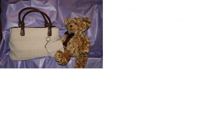 LIGHT BIEGE PURSE WITH BEAR